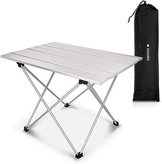 comprar comparacion Navaris Mesa Plegable de Camping - Mesa Auxiliar de Aluminio Ligero de 55.7x40.5x38.5CM - Mesa de Playa y Picnic pequeña d...