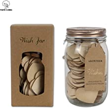 PAPA LONG Wish Jars with 100pcs 1.5 inch Wood Heart Cutouts as the Keepsake of Birthday Graduation