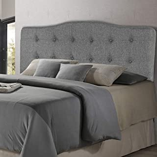Headboard Fabric Upholstered Full/Queen Size Headboard with Modern Gray Linen Tufted with Heavy Duty Nailheads