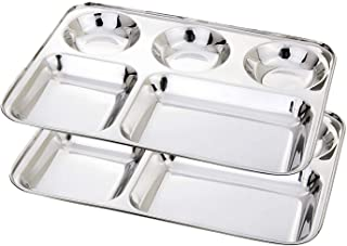 WhopperIndia Stainless Steel Five Compartment Square Plate, Thali, Mess Tray, Dinner Plate Set of 2 pcs- 33 cm each