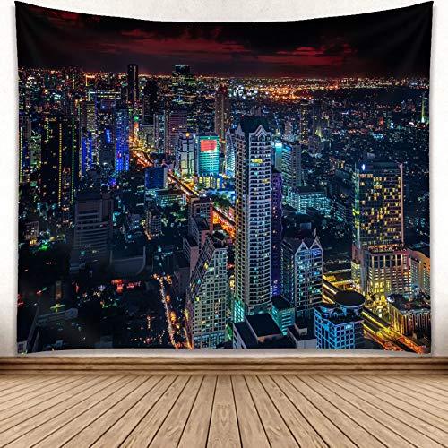 omnihabits Wandteppich, Wandtuch, Tapisserie, Tagesdecke, Wandbehang mit hoch detailliertem Druck (Black City, 130 x 150 cm)