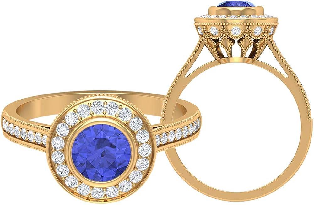 6 MM Lab Created Tanzanite Ring HI-SI Diamond Halo Max 74% Popular brand in the world OFF Solita