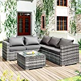 MOWIN <span class='highlight'>Rattan</span> <span class='highlight'>Garden</span> <span class='highlight'>Furniture</span> <span class='highlight'>Set</span> Indoor Outdoor Patio Conservatory Lounge Entertaining <span class='highlight'>Set</span> 5 Seater <span class='highlight'>Rattan</span> Modular Corner Sofa <span class='highlight'>Set</span> with Coffee Table includes Cushions (Grey)