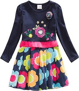 VIKITA Toddler Flower Girl Dress Cotton Long Sleeve Baby Girls Winter Dresses for 2-8 Years