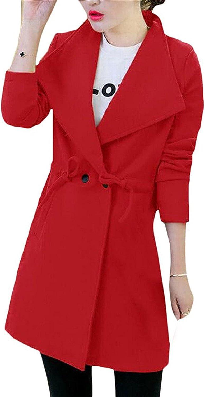 YUNJIYIFANG Women's Slim Winter Belted Mid Length Overcoat Dust Coat