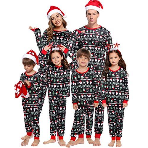 Abollria Weihnachten Schlafanzug lang Weihnachtspyjama Familie Outfit Weihnachts Schlafanzüge Gedruckt Nachtwäsche Zweiteiliger für Vater, Mutter, Kinder