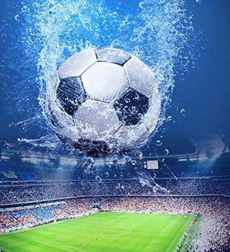 VÄLSON Duschvorhang 180x180 cm Fußball WM Football World Championship incl. Ringen mit verstärkte Lochleiste & Gewichtsaum Antibakteriell Antischimmel