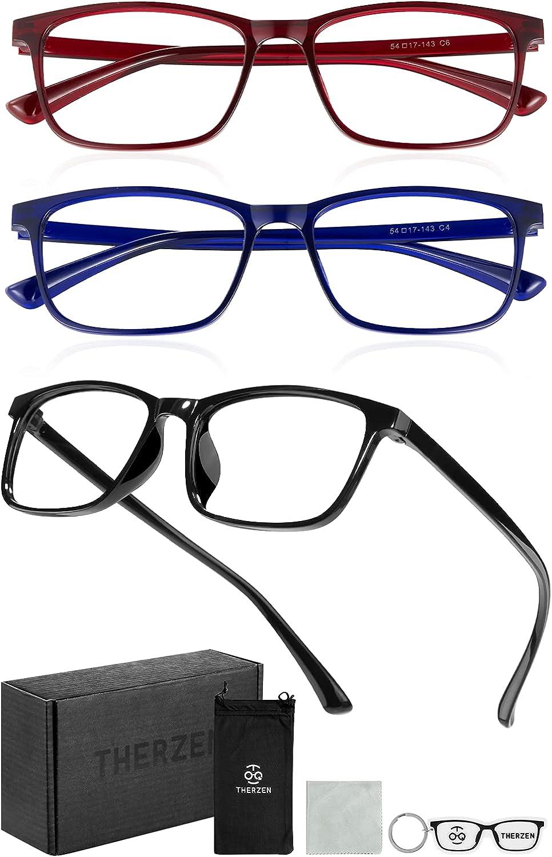 Blue Light Blocking Glasses,Lightweight 3 Pack Blue Light Blocker Eyeglasses for Computer/Gaming/Reading,Anti-Fatigue Square Frame Eyewear,Anti EyeStrain UV Glare for Women & Men Non Prescription