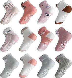 Licitn 12 Pares de Calcetines Antideslizantes para Niñas - Calcetines de Algodón de Bebés con Diseño de Patrón Animal trid...