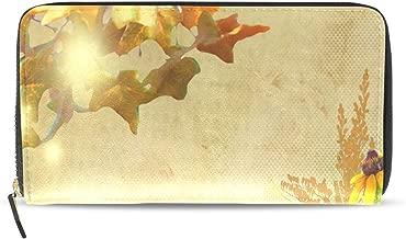 Clutch Wallet Bag Fall Bambi Autumn Flowers Long Leather Wallets Zipper Around Credit Card Holder for Women/men