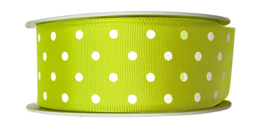 P&B Textil Ribbons Barcelona Polka Dot Grosgrain Ribbon in 38 mm widht x 25 Meters (Printed on Both Sides), Polyester, Light Green, 12x12x3.8 cm