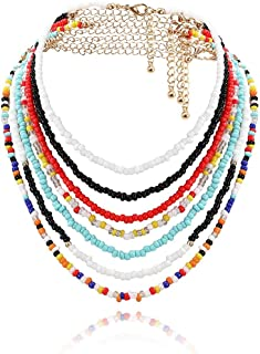 Vivilly Bohemian Bead Necklace Colorful Layered Choker Set Seed Bead Jewelry Accessories for Women and Girls