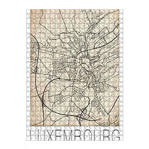 artboxONE Ravensburger-Puzzle L (500 Teile) Städte Luxemburg Stadtplan - Puzzle Luxemburg Stadt Karte