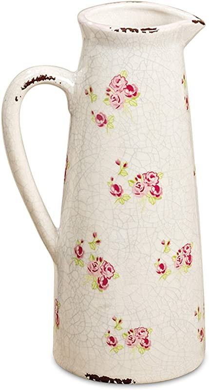 WHW Whole House Worlds Wild Sweetheart Rose Garden Pitcher Distressed Vintage Style Rustic White With Pink And Green Accents Over Terracotta 10 Inches Tall Shabby Chintz