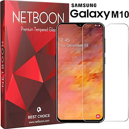 NETBOON Premium Tempered Glass Guard 2.5D Curved Edges Full Glue Anti-FingerPrint Screen Protector For Samsung Galaxy M10 Transparent (NT458)