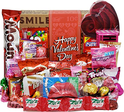 VALENTINES CANDY CARE PACKAGE LOADED GIFT BOX Filled With Valentine Milk Chocolate Hearts, Kisses,...