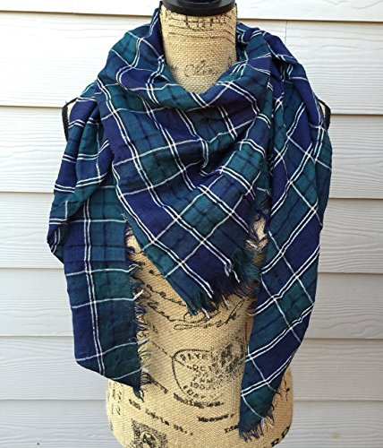 Plaid Oblong Crinkled Tartan Scarf, Winter Scarf By Uptown Girl Co