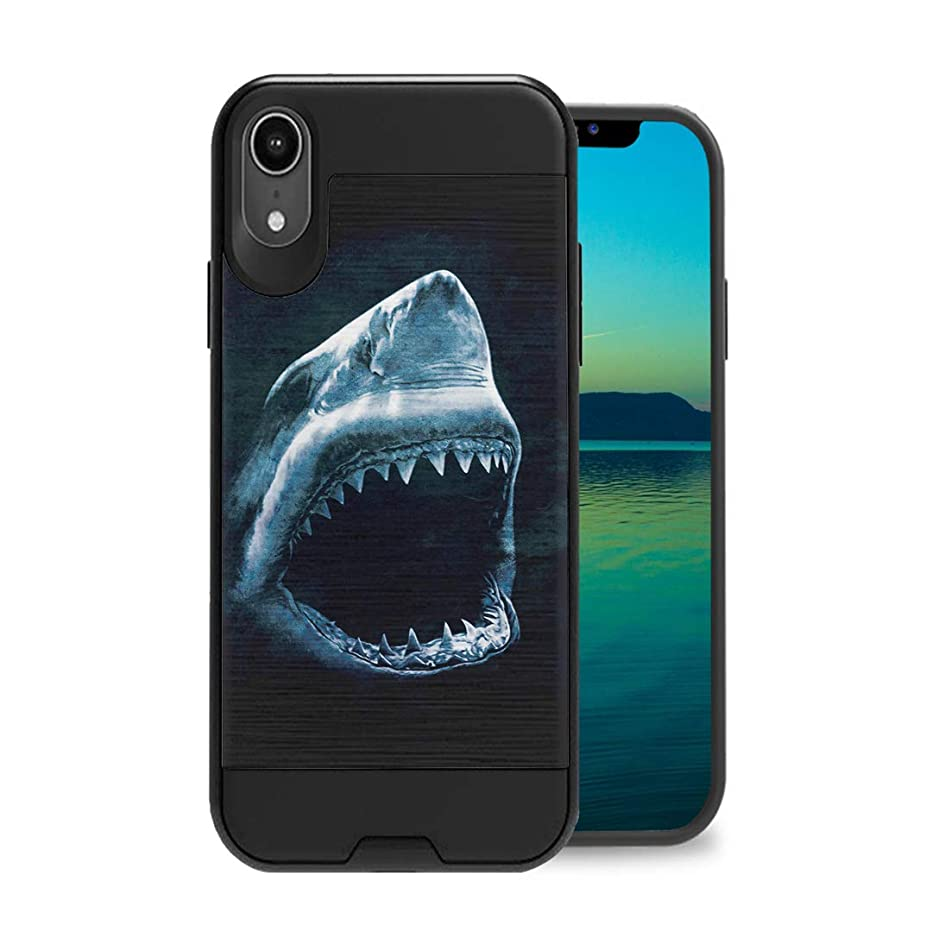 Zicomaxcap Case Compatible with iPhone XR [Hybrid Fusion Dual Layer Slick Armor Case Black] for iPhone XR 2018 - (Shark)