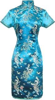 Vestito Cinese Corto e Lungo Qipao a Maniche Corte Abito Donna Modello Drago Taglia 38 al 50