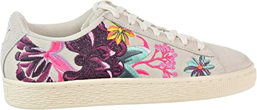 PUMA Women's Suede Hyper Embroidered Fashion Sneakers Whisper White/Orchid