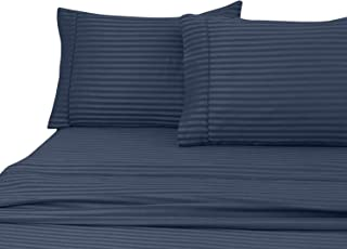 Home Sweet Home Dreams Inc London Collection 800 Thread Count Wrinkle Resistant Woven Stripe 100% Egyptian Cotton 4 Piece Sheet Set (Full, Navy Blue)