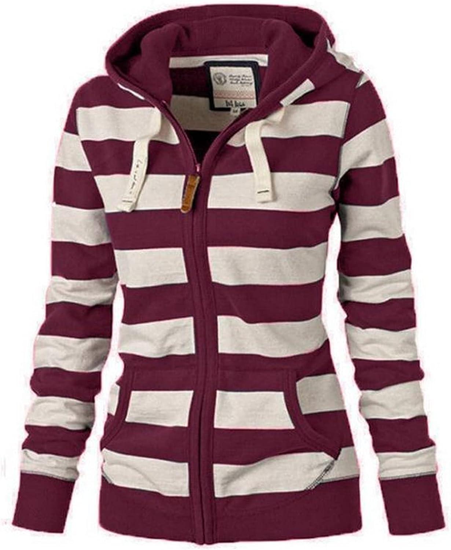 Zip up Hoodie Women, Ladies Long Sleeve Hooded Sweatshirt Fashion Stitching Color Comfortable Sports Tops