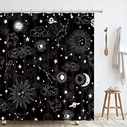 Mandala Boho Black Sun, Moon and Stars Bathroom Shower Curtain with Hooks, Decorative Bathroom Accessories, Waterproof, Reinforced Metal Grommets, Standard 72x72 Inches