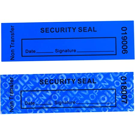 "100pcs Non Transfer Tamper Proof Security Warranty ""VoidOpen"" Labels/ Stickers/ Seals for Reusable Package or Expensive Surface (Blue, 1 x 3.35 inches, Serial Numbers - TamperSTOP)"