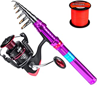 ProberoS Fishing Rod and Reel Combos Telescopic Fishing Pole Spinning Reels and Carrier Bag Set for Travel Saltwater Freshwater Fishing Gear Full Kit 6' Rod + 250 Reel
