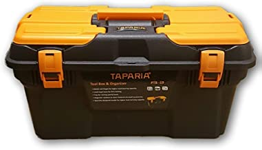 Taparia PTB Plastic Tool Box with Organizer (Black and Orange)