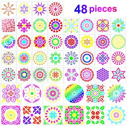 48 Paquete Plantillas de Mandala Plantillas de Pintura de Punto de Mandala Plantillas de Dibujo Reutilizables para Bricolaje Pintura Rupestre Proyectos de Arte, 6 x 6 Pulgadas, 3,5 x 3,5 Pulgadas