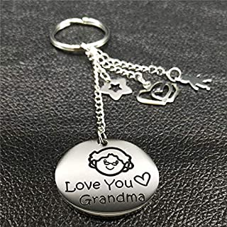 Key Chains - New Grandmother Silver Color Stainless Steel Keychain for Women Round Key Chain Jewelry Grandmother Gift Abuela llavero K73216 - by Mct12-1 PCs