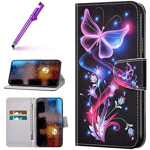 Kompatibel mit Xiaomi Mi CC9 Pro/Note 10/Note 10 Pro Hülle Bunt Muster Leder PU Handyhülle Standfunktion Handytasche Brieftasche Tasche Kartenfach Etui Lederhülle Case,Fluoreszierender Schmetterling