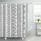 Presock Cortinas De Ducha, Shower Curtain 60 x 72 Inches Stitch Lacy Croched Black Sketch Knitted Edging Patterns and Borders on White Set with Hooks Decorative Polyester Fabric Shower Curtains