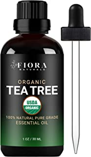 Tea Tree Essential Oil by Fiora Naturals- 100% Pure Organic Tea Tree Oil, Antifungal and Antiseptic for Face, Hair, Skin, ...