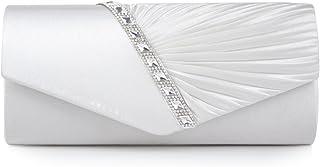 Damara Elegant Strassstein Damen Abendtasche Handtasche,Weiß