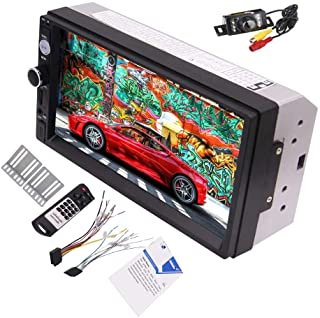 Backup Camera + 7 Inch 5 Points Capacitive Touch Screen Double Din Car Radio Player Built-in Bluetooth FM Radio USB/SD Card Slot Support Steering Wheel Control Multi Language Car Logo and Remote