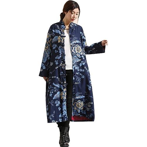 3c80820fc IDEALSANXUN Women's Cotton Linen Vintage Floral Print Lightweight Trench  Coat Long Button Down Jacket Robe