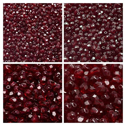 Czech Fire-Polished Faceted Glass Beads Round 3mm, 4mm, 6mm, 8mm, Dark Ruby (Garnet). Total 275 pcs. Set 1CFP 016 (3FP012 4FP104 6FP080 8FP094)