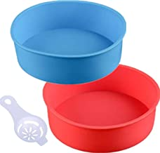 Round Silicone Cake Pan Baking Mold 6 Inches - Set of 2 - BPA-Free - Kitchen Baking Tool Red and Blue with Egg White Separator