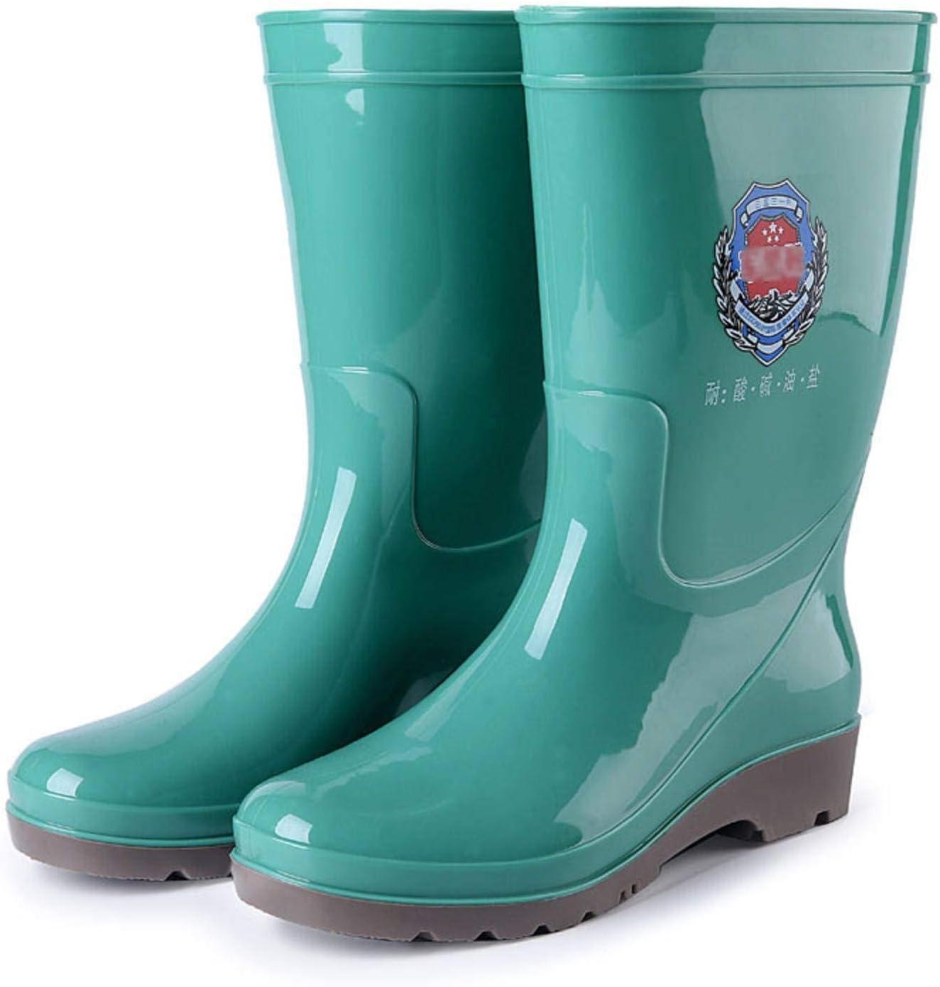 NC Women's Medium Tube Rain Boots Women's Work Protective Rain Boots Labor Protection Supplies Triple Resistant Rubber Boots