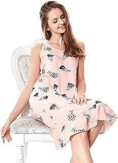 fed5e50b1a27 Abito da Notte Donna Elegante Sleeveless Rotondo Collo Sleepwear Cartoon  Animal Estivi Pigiami Stampato Vestito da