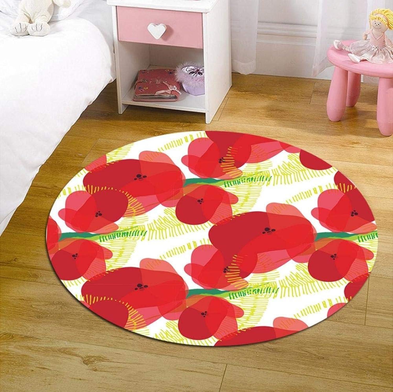 RR-CZY Alfombras rojoondas para Sala De Estar, Alfombra De Guardería, Flor Roja, Tapetes para Bebés, Estera De Cojín, 100x100cm