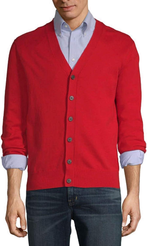 Largemouth Men's Red Cardigan Sweater