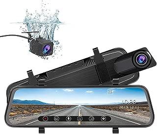 junsun Mirror Dash Cam Backup Camera 10 Inch Touch Screen 1080P Stream Media Dual Lens Full HD Reverse Camera 170 Degrees Wide Angle with Backup Camera G-Sensor Parking Monitor