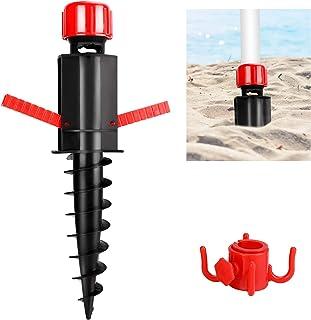 GIKPAL Pincho de Sombrillas, Soporte con Gancho Practico para Sombrillas de Playa, Pie de Anclaje Plástico para Suelo Arenoso, Ø 20-32 mm, 370 x 70 x 55 mm