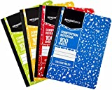 AmazonBasics College Ruled Composition Notebook, 100 Sheet, Assorted Marble Colors, 4-Pack...
