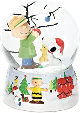 Roman Peanuts Snoopy and Charlie Brown 100mm O Christmas Tree Musical Water Globe