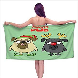 Ediyuneth White Bath Towels Funny Pugs with Christmas Costumes,W12 xL35 for Kids Mickey Mouse