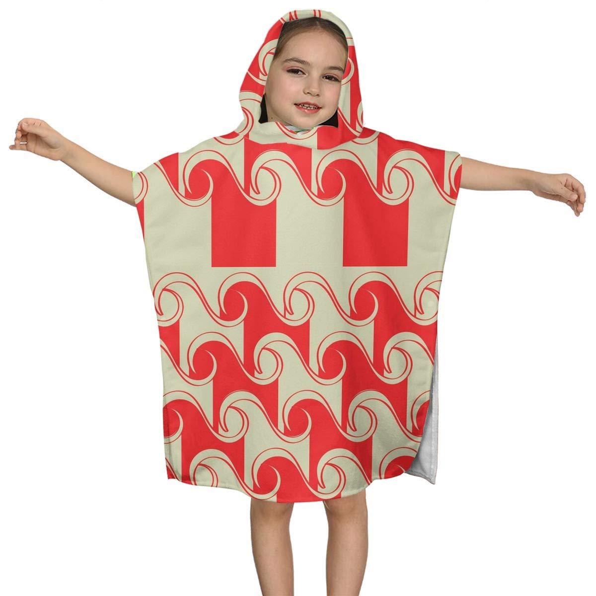DE Xin Trade Red Water Ocean Sea Kids Hooded Beach Bath Towel Use for Baby Toddler Boys Bath Pool Swim Poncho Cover-ups for All Seasons Soft Beach 2-7 Years Old Bath Robe Girls